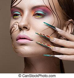 nails., helder, lang, meisje, make-up, ontwerp, manicure., face., mode, hairstyle, mooi, creatief, beauty