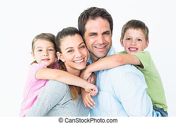 nakomeling kijkend, fototoestel, samen, gezin, vrolijke