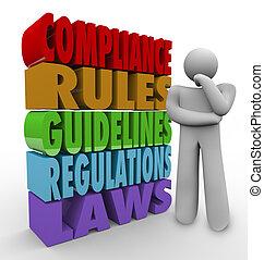 naleving, regels, richtlijnen, wettelijk, regelingen, denker