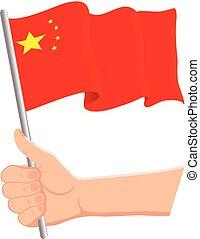 nationale, ventilatoren, vlag, illustratie, hand, zwaaiende , dag, vector, vasthouden, vaderlandslievend, china., concept., onafhankelijkheid