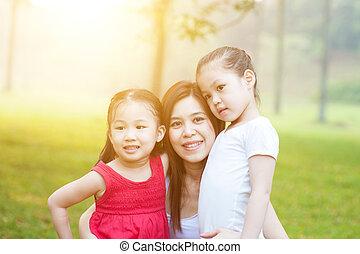 nature., dochter, moeder