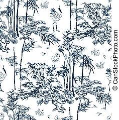 natuur, model, japanner, dennenboom, traditionele , vector, bamboe