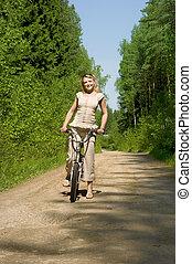 natuur, vrouwlijk, fietsende , jonge