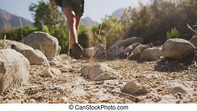 natuur, wandelende, kaukasisch, man