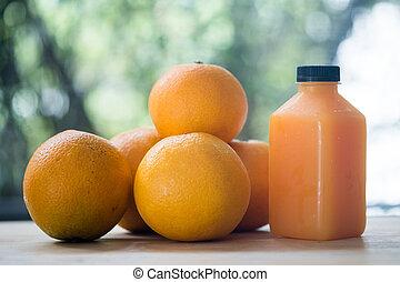 natuurlijke , drank, sinaasappel, fruit., fles, sap, fris