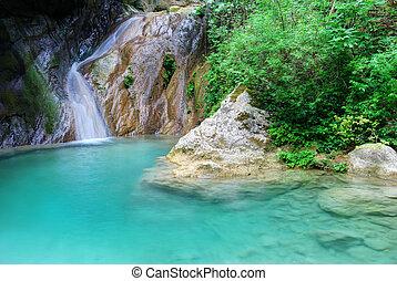 natuurlijke , water, hemelsblauw, waterval, kleine, pool