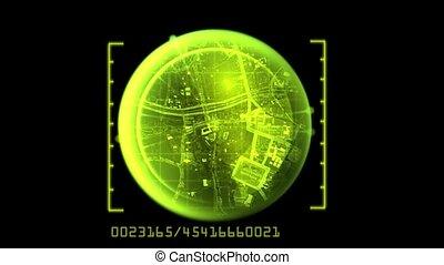 navigatiesysteem, aarde, def, lus, kaart, seamless