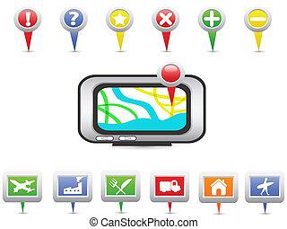 navigatiesysteem, navigatie, iconen