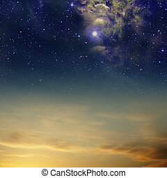 nebula, hemelen, wolken, sterretjes, nacht