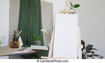 nee, banner., easel., witte , leeg canvas, mensen