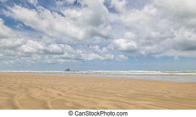 nee, strand, tijd, kust, wrakkigheid, mensen