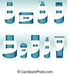negen, containers., set, schoonheidsmiddel