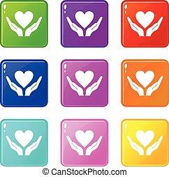 negen, hart, set, holdingshanden