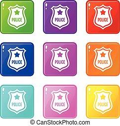 negen, politie, set, badge