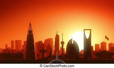 nemen, achtergrond, gouden, skyline, vliegtuig, riyadh, van