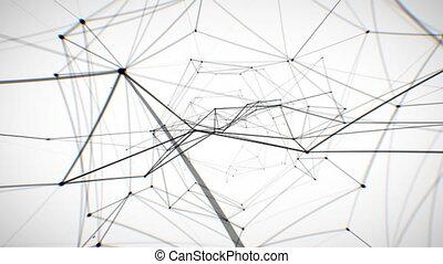 netwerk, animation., abstract, looped