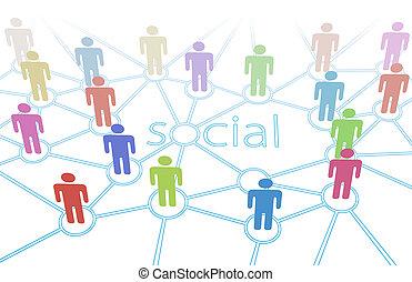 netwerk, de kleur van mensen, media, aansluitingen, sociaal