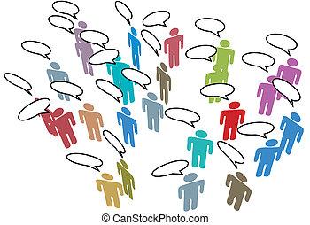 netwerk, kleurrijke, mensen, media, toespraak, sociaal, vergadering