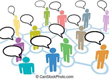 netwerk, mensen, communicatie, aansluitingen, toespraak, sociaal, praatje