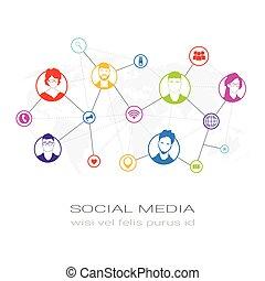 netwerk, profiel, silhouette, mensen, communicatie, gebruikers, kleurrijke, iconen, media, concept, verbinding, sociaal