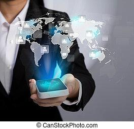 netwerk, tonen, mobiel communicatiemiddel, moderne, hand, telefoon, vasthouden, sociaal, technologie
