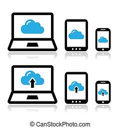 netwerk, wolk, tablet, draagbare computer