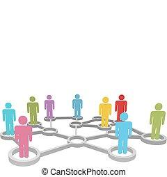 netwerk, zakenlui, anders, verbinden, sociaal, of