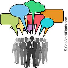 netwerk, zakenlui, bellen, kleurrijke, praatje