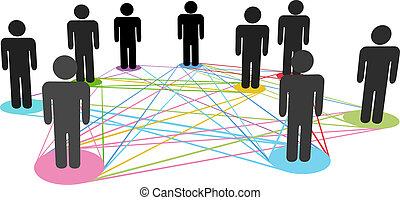netwerk, zakenlui, kleur, aansluitingen, sociaal