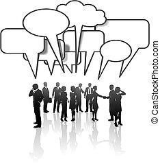 netwerk, zakenlui, media, communicatie, teambespreking