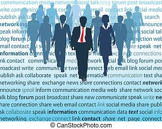 netwerk, zakenlui, media, sociaal, concepten