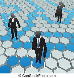 netwerk, zakenlui, media, sociaal, zeshoek