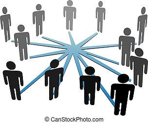 netwerk, zakenlui, media, verbinden, sociaal, of
