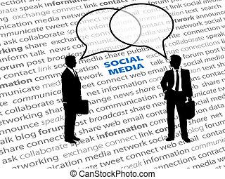 netwerk, zakenlui, tekst, sociaal, bellen, praatje