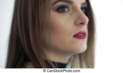 neus, lippen, van een vrouw, man's, langzaam, face., op, aandoenlijk, rood, afsluiten