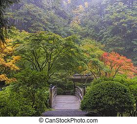 nevelig, morgen, japanse tuin