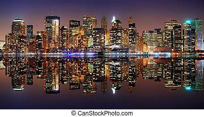 new york, manhattan, panorama, stad