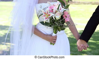 newlyweds, park, staand