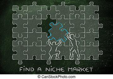 niche, compleet, missende , tekst, raadsel, stuk, vinden, markt, man