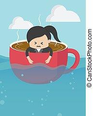 niet, because, businesswomen, drinkende koffie, veel, relaxen, kop