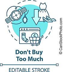 niet, kopen, veel, concept, pictogram