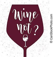 niet, lettering, vector, wijntje
