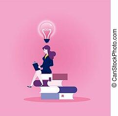 nieuw, boek, vinden, opleiding, -, concept, lezende , businesswoman, idee