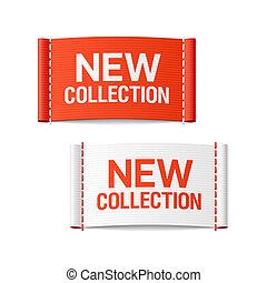 nieuw, etiketten, kleding, verzameling