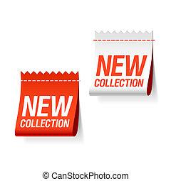 nieuw, etiketten, verzameling