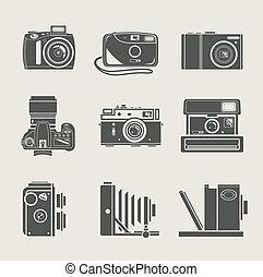 nieuw, fototoestel, retro, pictogram