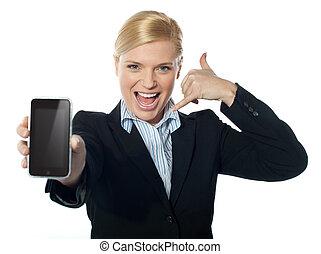 nieuw, fototoestel, verkoopster, iphone, het tonen