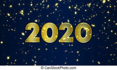 nieuw, goud, video, vrolijke , jaar, 2020, kaart, vuurwerk