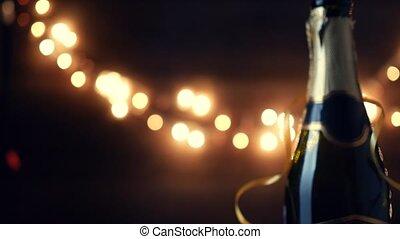 nieuw jaar, toast., champagne