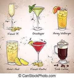 nieuw, tijdperk, set, dranken, cocktail